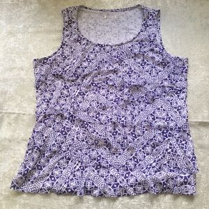 Purple and white sleeveless scoop neck blouse